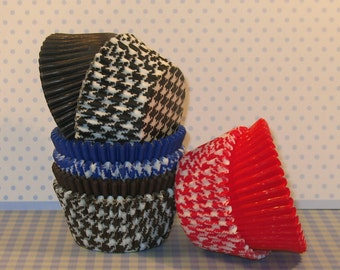 Houndstooth Party Pack Mixed with Coordinating Solid Cupcake Liners  (80)