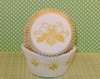 Yellow Bow Cupcake Liners  (40)