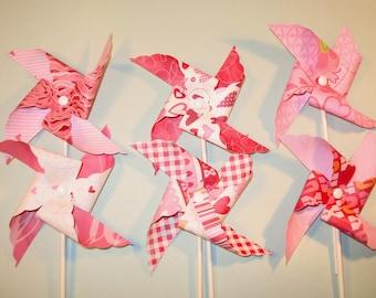 Love Struck Pinwheel Collections   (Qty 12)  Pinwheels, Decorative Pinwheels, Pinwheel Center Piece, Table Top Center Piece, Party Props