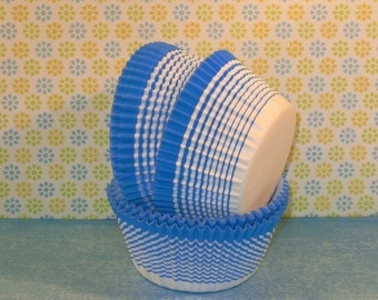 Turquoise Blue Stripe Cupcake Liners   (40)
