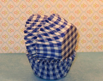 Blue Country Gingham Cupcake Liners