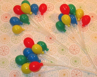 Small Primary Balloon Cupcake Picks  (3)