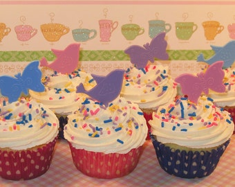 Butterflies and Birdies Cupcake Picks  (12)