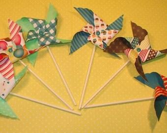 Jewel Tone Happy Birthday Pinwheels  (12)