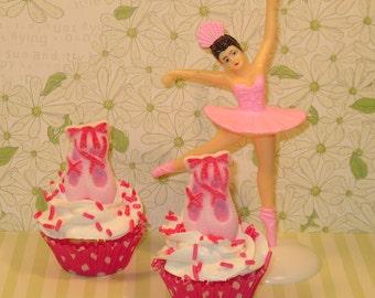 Edible Pink Ballet Slipper Sugar Toppers  (10)