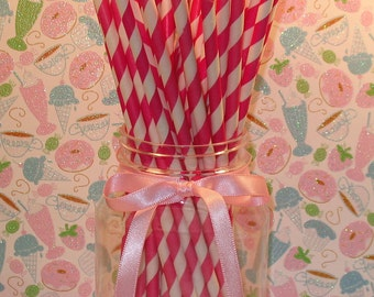 Dark Fucshia and White Barber Stripe Paper Straws with DIY Flag Toppers (25)