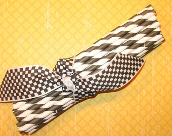 Black and White Barber Striped Paper Straws with DIY Flag Toppers  (25)