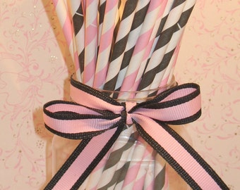 Ballerina Pink and Black Stripe Paper Straws with DIY Flag Toppers (24)