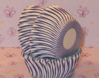 MINI Purple and White Carnival Stripe Cupcake Liners  (45)