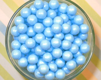 Edible Pearl Blue Sugar Candy Beads  (3 oz)  Cake or Cupcake Candy Beads, Cake or Cupcake Toppings