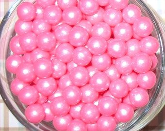 Edible Pearl Pink Sugar Candy Beads  (3 oz)  Cake or Cupcake Candy Beads, Cake or Cupcake Toppings