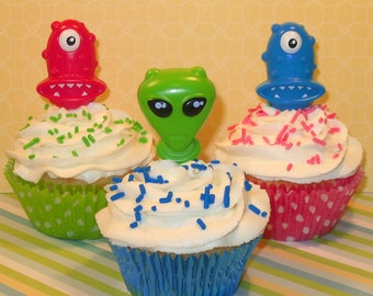 Monster and Alien Cupcake Picks  (12)