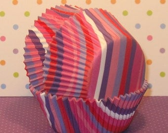 Bright Stripes Cupcake Liners - Pink and Purple   (40)