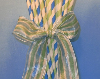Sky Blue and Vintage Green Stripe Paper Straws with DIY Flag Toppers  (24)