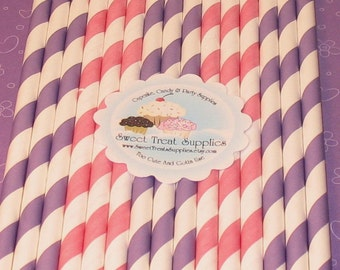Purple and Blush Pink Striped Paper Straws with DIY Flag Toppers  (24)