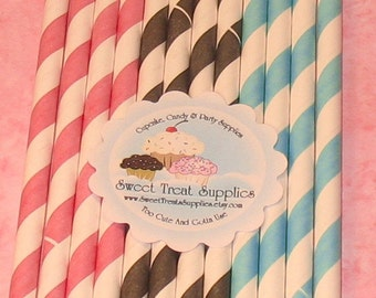 Blush, Aqua and Black Stripe Paper Straws with DIY Flag Toppers  (24)