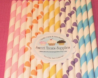 Pastel Fruity Patuity Stripes and Dots Paper Straws with DIY Flag Toppers  (25)