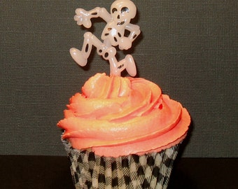 Whimsical Glow-In-The-Dark Skeleton Cupcake Picks  (13) Last Pkg