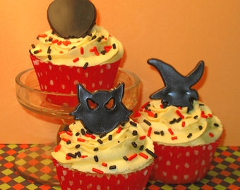 Black Cats Face, Witches Head and Halloween Owl Ring Toppers  (12)