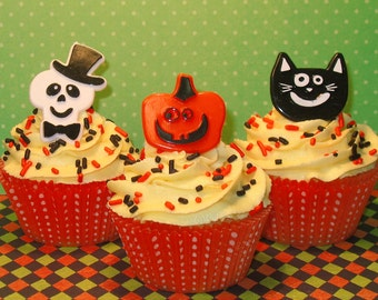 Whimsical Skeleton with Top Hat, Pumpkin and Cat Face Ring Toppers  (12)