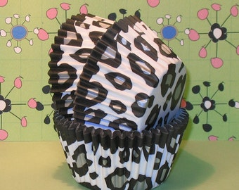 White Snow Leopard Cupcake Liners (40)