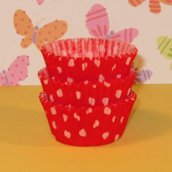 MINI Orange Polka Dot Cupcake Liners   (Qty 50)