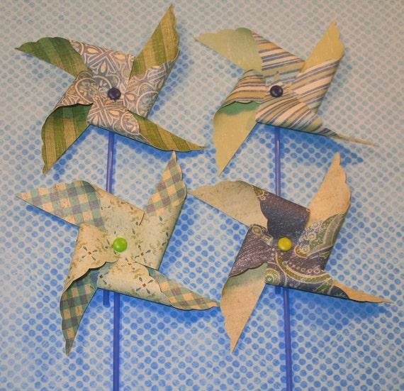 Vintage Inspired Denim Blues Collection Pinwheels - Textures, Glitters and Embossed Prints   (12)