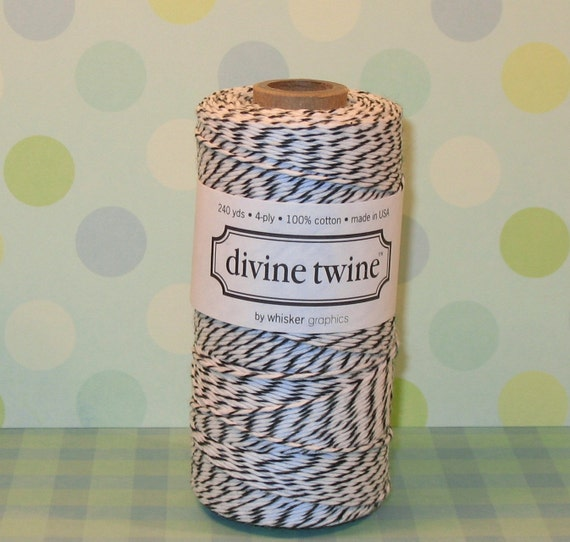 Black Licorice and White Divine Twine - 240 Yd Roll