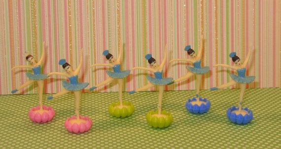 Vintage Inspired Ballerina's in Blue Tutu's and Blue, Pink and Yellow Flower Base  (12)