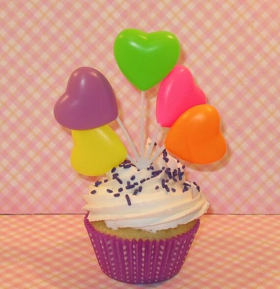 Brights - Heart Balloon Picks    (Qty3)