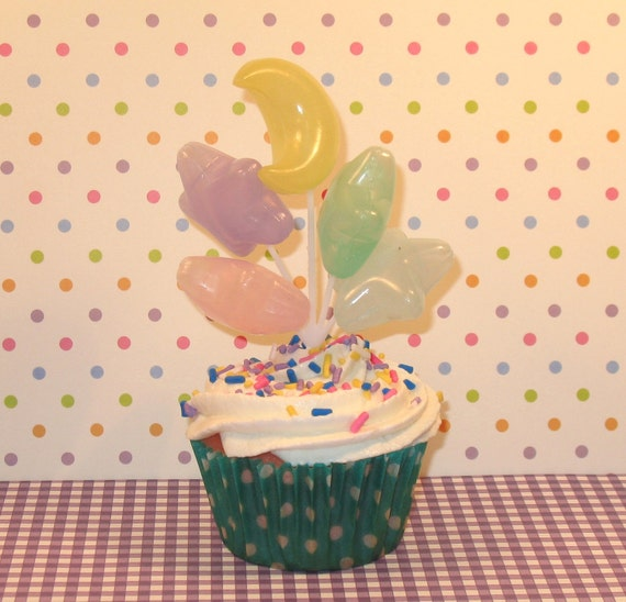 Translucent Pastel Star with Crescent Moon Balloon Picks  (Sold Individually)Note Color Differences in Details Page