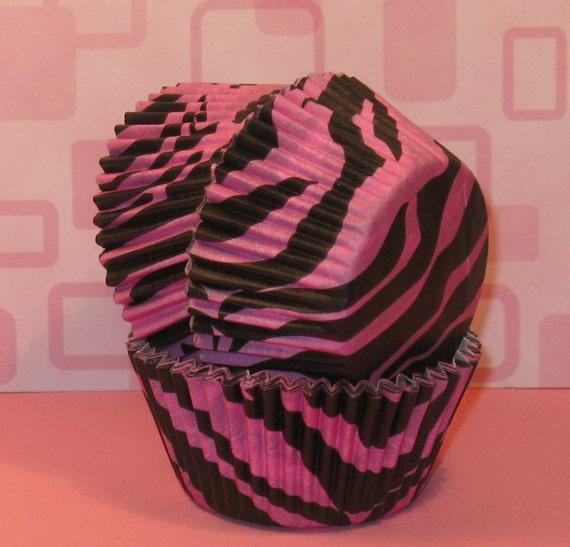 pink and black zebra cupcakes