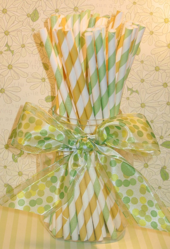 Green and Yellow Striped Paper Straws with DIY Flag Toppers  (24)