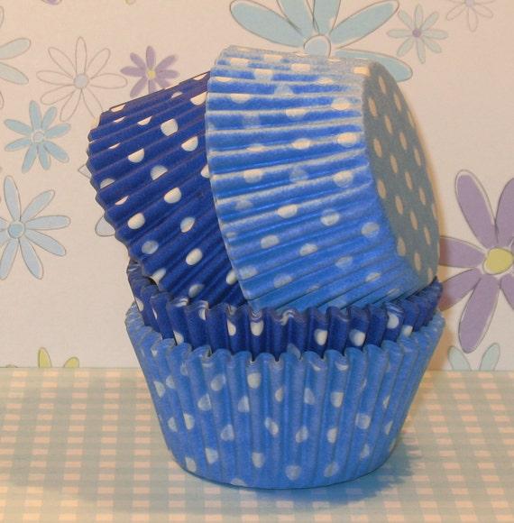 Light Blue and Royal Blue Polka Dot Cupcake Liners  (40)