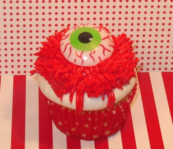 Ghoulishly Creepy Bloodshot Eyeball Cupcake Ring Toppers  (12)