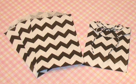 Itty Bitty Black Zig Zag Bags  (20)  Black Chevron Bitty Bags, Black Chevron Bags, Black Chevron Gift Bags, Black Gift Bags, Black Bags