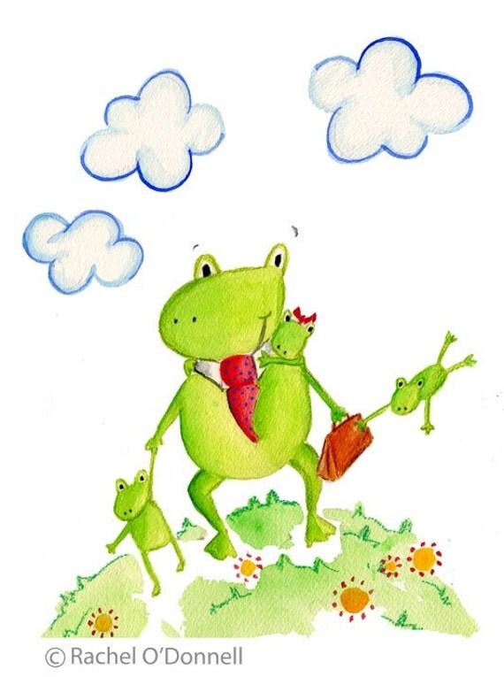 Nursery Art Print, Frog Family, Watercolor