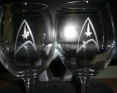 Set Of 2 Star Trek Wine Glasses