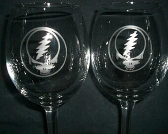 Set Of 2 Grateful Dead Wine Glasses