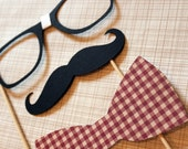 Currently featured in BRIDES Magazine. Geek Chic - Mustache, Bow Tie, and Geek Glasses on a Stick -  Three Peice Photobooth Prop Set