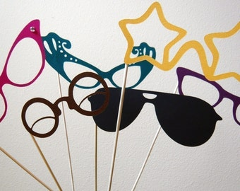 Photobooth Props. Photo Booth Props. Glasses - Set of Seven