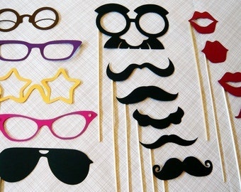 Photo Booth Photo Props. Photobooth. The Ultimate Party on a Stick Kit - Mustache on a stick. Weddings. Parties. Birthdays.