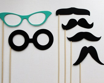 Photobooth Props on a Stick - Mustashe and Glasses Set