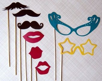 Photobooth Props.  Party on a Stick - Mustashe, Lips and Glass Set