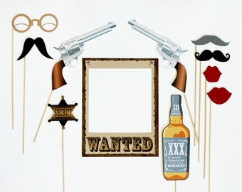 Western Themed Photobooth Props. Photo Booth Props. Wedding, Birthday Photo Prop. Wanted