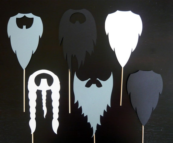Photo Booth Props. Photo Prop. Wedding Photo Booth. Lumber JackBeards on a Stick - Assortment of Six Smoky Beards