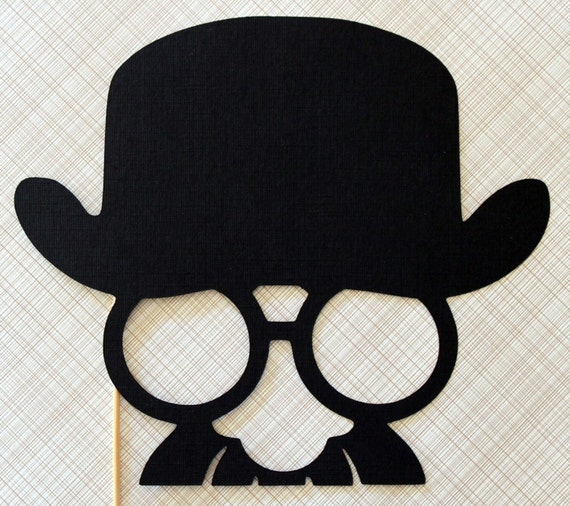 Groucho Marx Meets Charlie Chaplin - Photo Booth Prop on a Stick