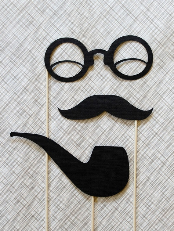 Smoking Hot Gent - Black Pipe, Mustache, Glasses on a Stick Set