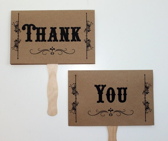 Thank You and Mr. and Mrs. Kraft Double Sided Paddle Signs . Fan