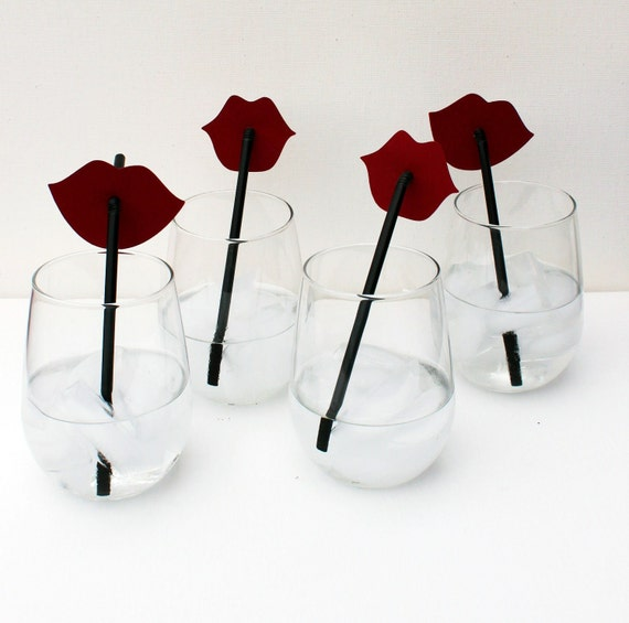 Photo Prop. Set of Four. Ruby Red Lips on Straws Candy Bar. Wedding Photo Prop